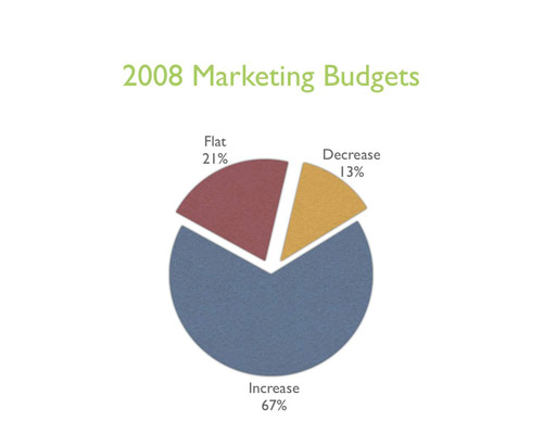 Increases and decreases in 2008 marketing budgets