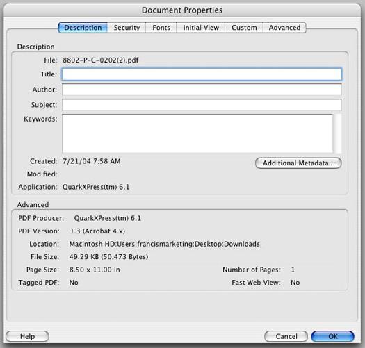 PDF document properties box