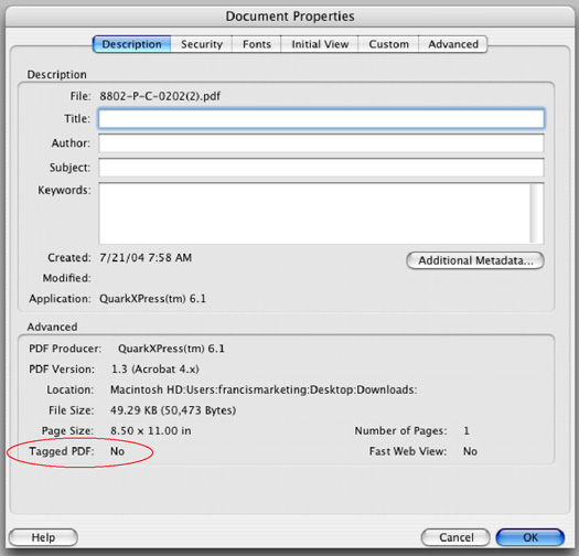 document properties tagging