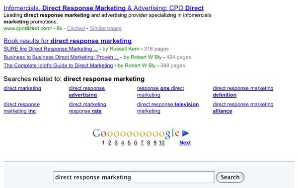 Direct response marketing search result
